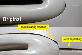 Signs of tampering include uneven plastic edges, splitting seams, worn paint, and color inconsistency.