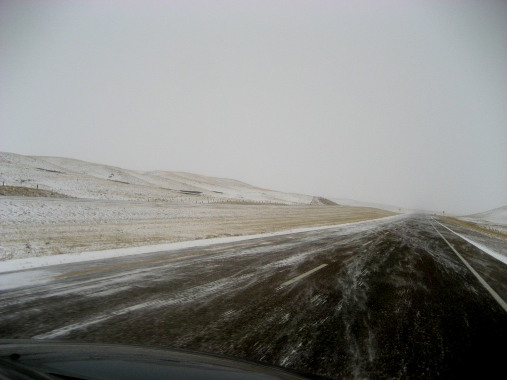 winter road highway prairie